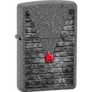 Zapalovač Zippo Grey Brick and Flame