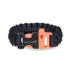 Náramek pro přežití PENTAGON® Survival Pselion - černo oranžový (Barva: Černá / oranžová)