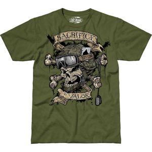Pánské tričko 7.62 Design® Sacrifice & Valor - zelené (Velikost: XL)