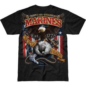 Pánské tričko 7.62 Design® USMC Fighting Eagle - černé (Velikost: XXL)